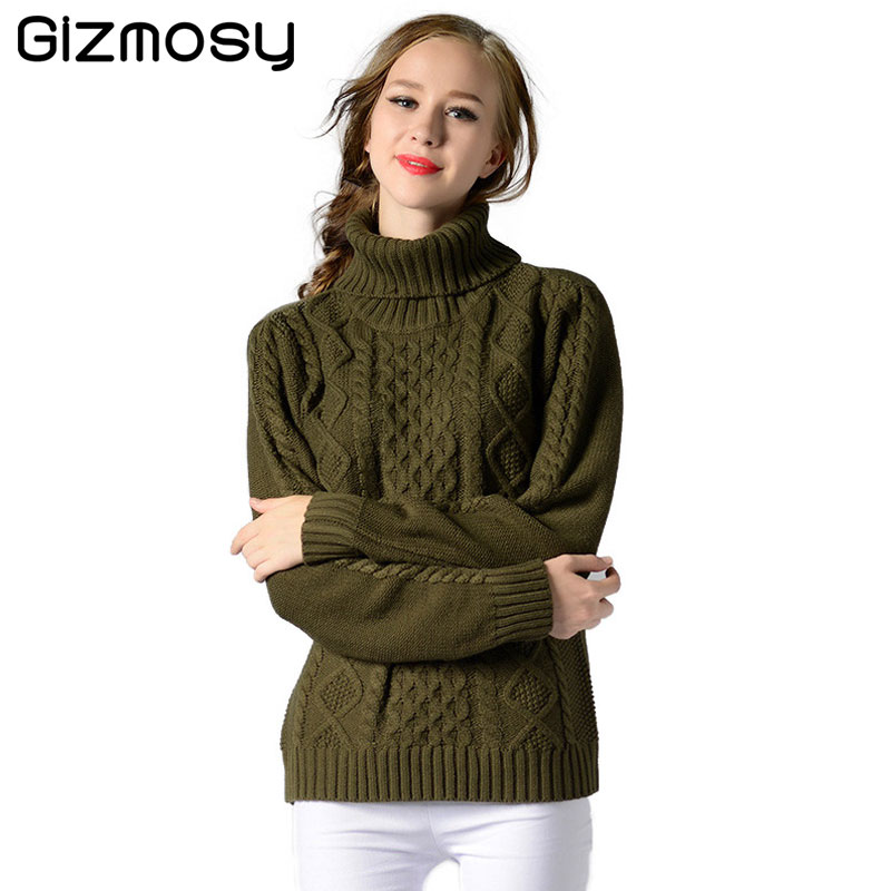 Autumn Winter Turtleneck Sweater Women 2017 New Design Green Thick Tricot Women Sweater And Pullover Female Jumper Tops SY1990