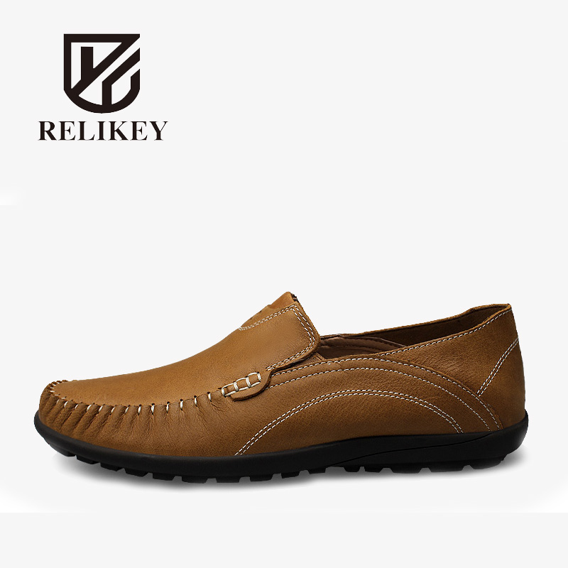 RELIKEY Brand Classics Men Loafers Genuine Cow Leather Slip-On Casual Male Moccasins New Big Size Leisure Driving Shoes for Men yomior men casual real leather fashion rivet driving loafers moccasins slip on men formal work shoes male dress footwear