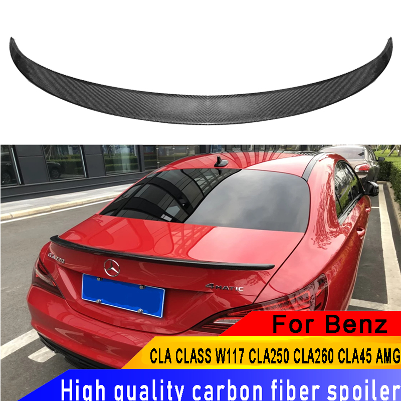 For Mercedes - Benz CLA CLASS W117 <font><b>CLA250</b></font> CLA260 CLA45 AMG Carbon Fiber <font><b>Spoiler</b></font> For CLA 2013-2017 Rear Car Carbon Fiber <font><b>Spoiler</b></font> image