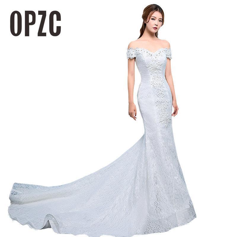 Us 59 31 10 Off Real Photo Y Mermaid Train Wedding Dress 2017 New Style Korean Smiple Lace Crystal Fishtail Bride Princess Estidos De Noiva In