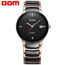 DOM Reloj de los hombres de cerámica de la Vendimia de diamantes relojes de marca de lujo de relojes de cuarzo ocasional hombres de acero completo relojes deportivos T-729