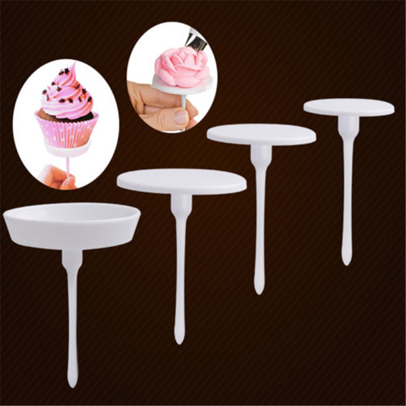 2017 hot sale 1Set/4PCS New Sugarcraft Cupcake Cake Stand Icing Cream Flower Decorating Nail Set Tool