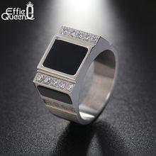 Effie Queen 316L Stainless Steel Rings For Men With AAA Cubic Zirconia Punk Style Ring Fashion Men Jewelry For Boyfriend DGTR93(China)