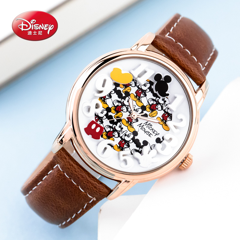 2017 Original Disney children Mickey Mouse Cartoon Watch Best Fashion Casual Simple Digital Style Quartz Round Leather Watch hoska hd030b children quartz digital watch