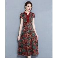 M 4XL Summer New Arrive Female Vintage Printed Mimetic Silk Dresses Elegant Mimetic Mulberry Silk Dress