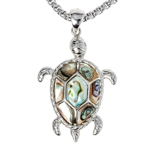 Natural Abalone Shell Turtle Necklace Pendant W Stainless Steel Chain Jewelry Birthday Gifts For Women Her Wife Girlfriend I037