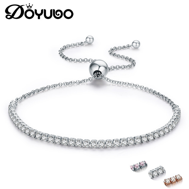 DOYUBO Women s 925 Sterling Silver Bracelets With White Pink Cubic Zirconia Adjustable Length Lady Authentic