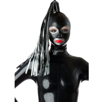 Handmade Customized Black Latex Hoods With One Tress Wig Hair Open Face Hot Fetish Mask Heroine