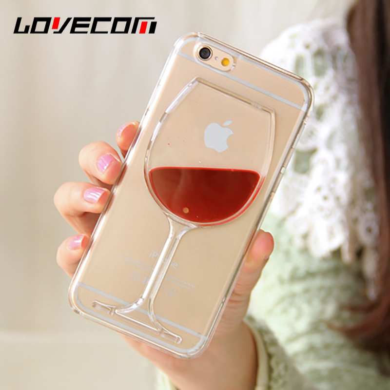 LOVECOM Phone Case For iPhone 4 4S 5 5S SE 5C 6 6S 7 Plus Dynamic Liquid Red Wine Transparent Hard PC Phone Back Cover Best Gift