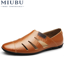 MIUBU Summer Handmade Genuine Leather Men Loafers Casual Luxury Brand Shoes Fashion Breathable Driving Plus Size 47