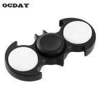 OCDAY Light In Dark Batman Hand Spinner Tri Fidget Spinner LED Glowing Fingertip Gyro Focus Autism