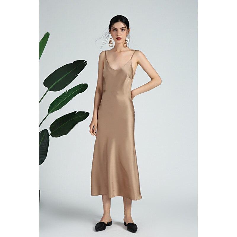 Robe en Satin 2019 printemps été sexy robe à bretelles spaghetti haute qualité piste faute soie adress livraison directe