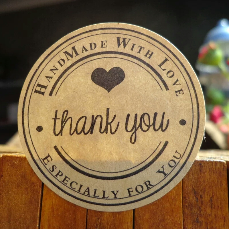 100pcs Handmade wtih Love Heart Thank you Round Scrapbooking Paper Label Sticker,5 designs DIY Gift Sticker