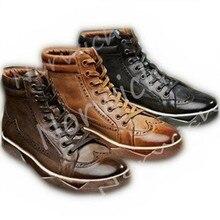 2017 новая Универсальная плоской подошве винтажные броги черный коричневый в наличии 3 цвета кроссовки дышащая кожа на открытом воздухе мужская обувь