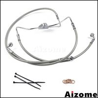 Road King Road Glide Electra Glide Street Glide Front +4 Stainless Brake Line Kit For Harley Touring No ABS Brakes 2008 2013