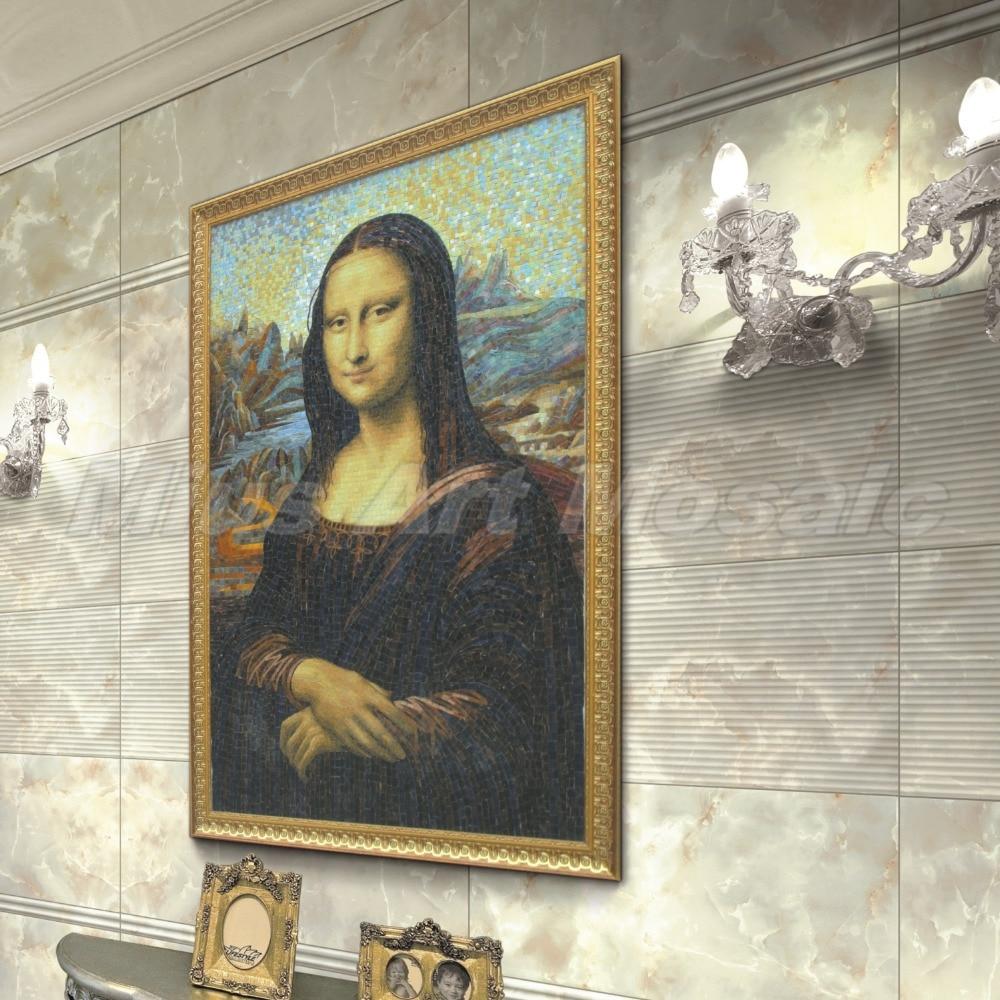 Custom Mona Lisa art glass mosaic wall decoration 1mx1.54m C1001 mona lisa overdrive