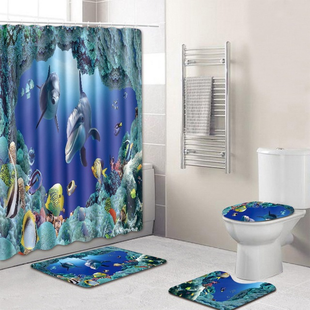 Urijk New Waterproof Polyester Bathroom Shower Curtain Anti Slip Rugs Set And Lid Toilet Cover