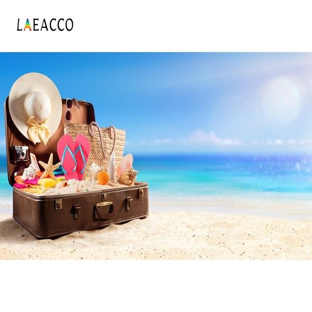 Laeacco Summer Seaside Beach Sunbathing Photography Baby Background Traveling Trunk Scene Photographic Backdrop For Photo Studio