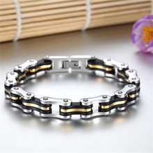 Fashion Men Stainless Steel Biker Bicycle Motorcycle Chain Bracelets Gold-in Chain