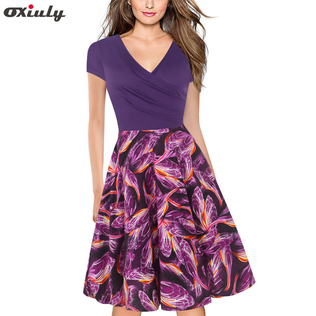 Oxily Summer Dresses 2018 Women Lavender Patchwork Printed Ruffle Deep V  Neck Wrap Dress Lady Short Sleeve Sexy A-line Dress 38e932a67