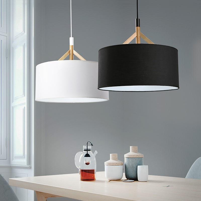 Modern D44cm Fabric lampshade pendant lights Nordic living room bedroom ceiling hanging lamp American style wood fabric lighting недорго, оригинальная цена