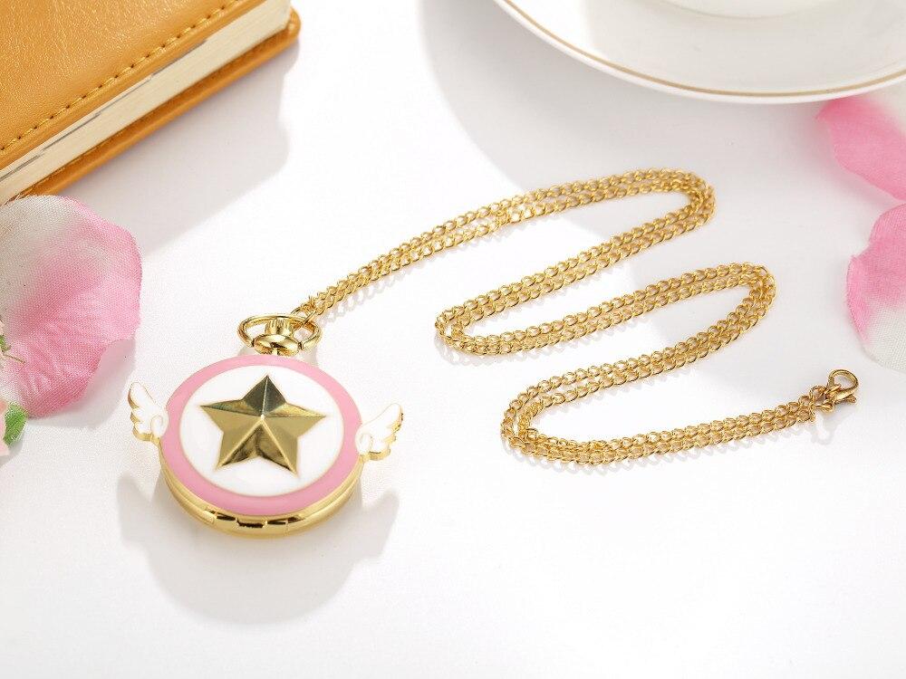 Lovely Quartz Pocket Watch Japan Anime Magic Girl Cardcaptor Sakura Watches Cartoon Star Cosplay Gold Pink Fob Chain Women Clock Watches