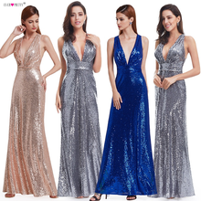 Evening Dress Sparkle Ever Pretty Long Deep V-Neck 2019 Natural Waist EP07109GY Mesh Cross Back Shiny Sequin Evening Dress Gowns(China)