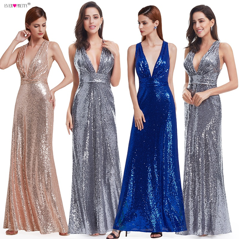 Aftonklänning Sparkle Ever Pretty Lång Deep V-Neck 2018 Natural Waist EP07109GY Mesh Cross Back Glänsande Sequin Aftonklänningar