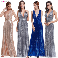 Evening Dress Sparkle Ever Pretty Long Deep V Neck 2019 Natural Waist EP07109GY Mesh Cross Back Shiny Sequin Evening Dress Gowns