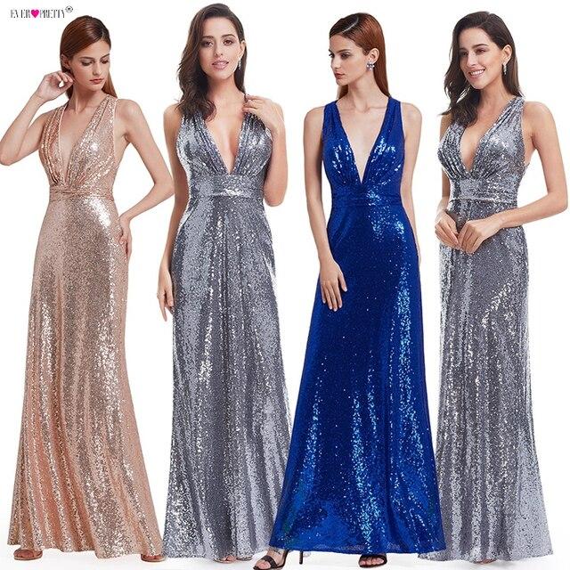 שמלת ערב Sparkle אי פעם די ארוך עמוק V צוואר 2020 טבעי מותן EP07109GY רשת צלב חזור מבריק נצנצים שמלת ערב שמלות