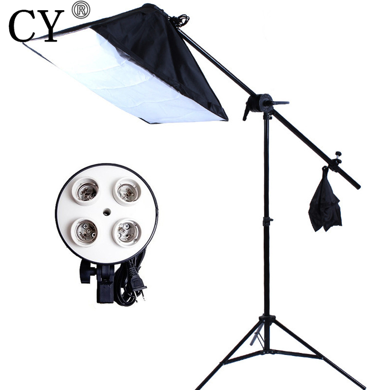 CY Photography Studio Soft Box Lighting Kit 240cm Stand+50x70cm Softbox+E27 4 Lamp Holder+Boom Arm(75-135cm) Photo Studio Set photo studio arm bar with lighting boom 2m light stand boom photography kit cross arm