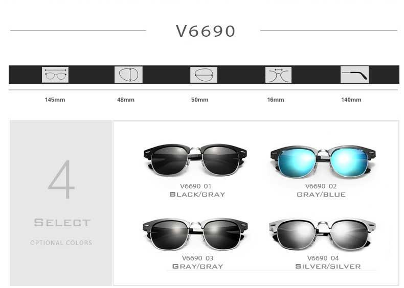 VEITHDIA Unisex Aluminum Magnesium Polarized Lens Sunglasses