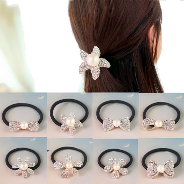 Fashion Women Girls Pearl Ponytail Holder Crystal Hair Ties Rope Hairband  Elastic Hair Bands Hair Accessories 10Styles d24b4dc3f65