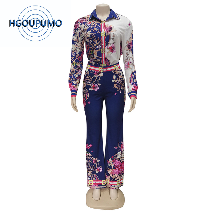 Floral Print Sexy 2 Piece Set Women Festival Clothes Turn Down Collar Long Sleeve T-Shirt And Flare Long Pant Vintage Tracksuit
