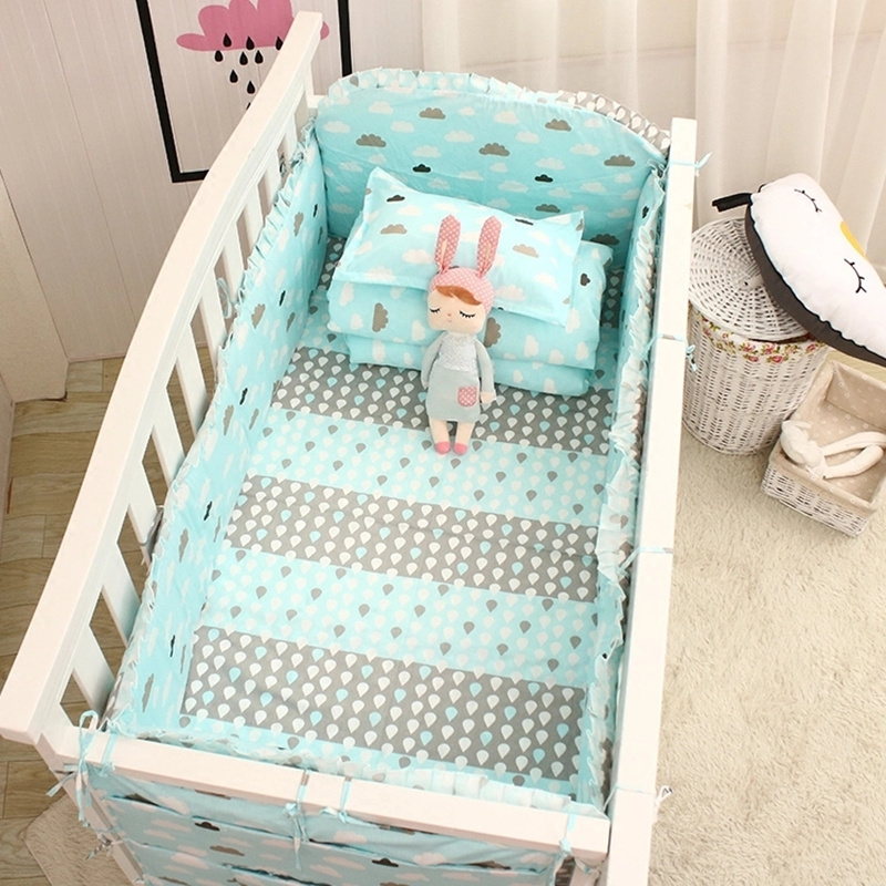 5Pcs/set Pink/Blue Baby Bedding Set for Boys Girls Cotton Baby Bed Set Cot Linens Kit Include Crib Protector Bumpers Bed Sheet
