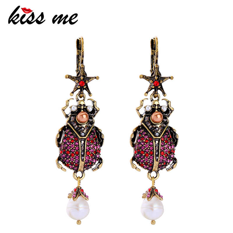 KISS ME Women Beetle Dangle Earrings Unique Zinc Alloy Vintage Rhinestone Cultured Pearl Earrings Fashion Jewelry