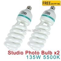 2 pcs 135W E27 5500K CFL Photography Lighting Video Bulb Daylight Balanced Energy Saving fluorescent Lamp photo studio