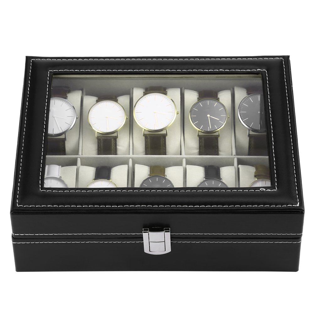 10 Slots Luxury PU Leather Watch Jewelry Display Storage Organizer Holder Collection Case Black Casket Wrist Watch Gem Box10 Slots Luxury PU Leather Watch Jewelry Display Storage Organizer Holder Collection Case Black Casket Wrist Watch Gem Box