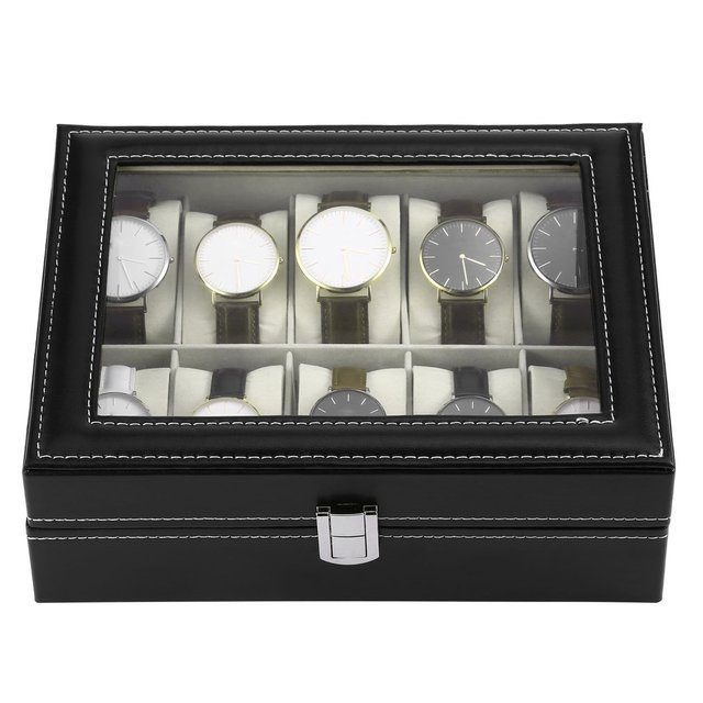10 Slots Luxury PU Leather Watch Jewelry Display Storage Organizer Holder Collec