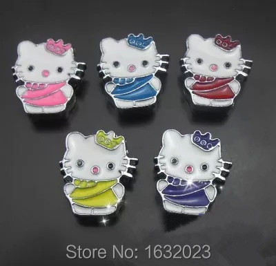 Hot !! 20PCS/Lot 8MM hello kitty slide charms Fit for 8mm wristband or belt ,Wholesale SC38(China)