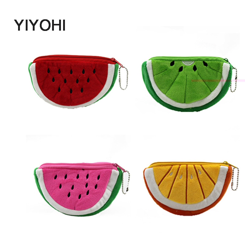 YIYOHI Kawaii Fruits 10CM Hand Coin Purse Wallet Pouch Case Bag Women Lady Bags Pouch Beauty Holder Bag Girls Mini Handbag kawaii fresh summer fruits banana