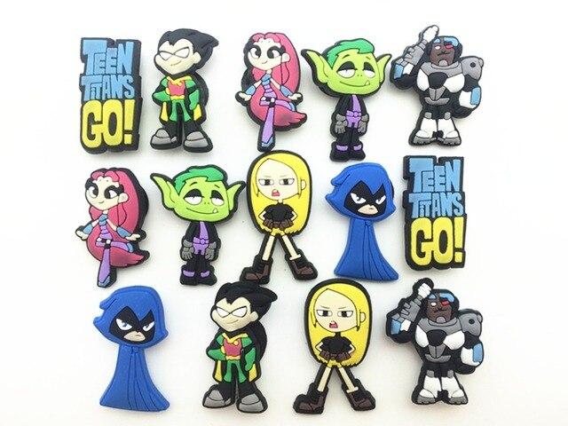 519bb063cb2a5 14 Pcs PVC Teen Titans Go Shoe accessories Shoe Charms Shoe Decorations for Croc  Bracelet Wristband Kid Gift