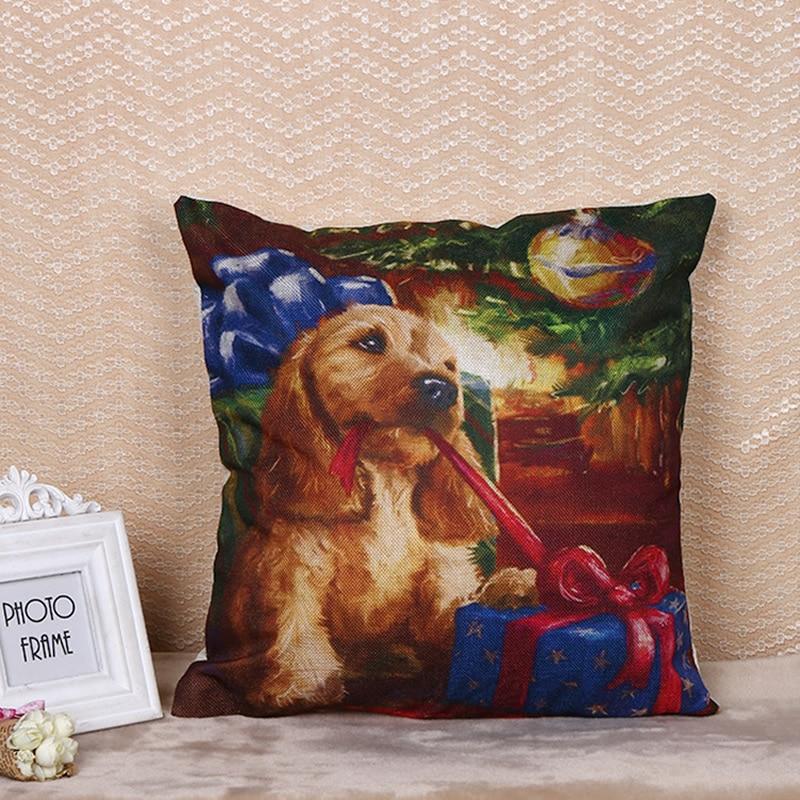 Merry Christmas Pillow Case Cushion Cover Cute Dog Pet Pillowcase For Sofa Throw Pillow Case 45x45cm F