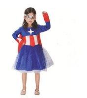 Nueva muchacha del cabrito del niño Superhéroe Captain America Traje 110-140 cm Los Niños Disfraces de Halloween Para Niños Cosplay fiesta de Disfraces regalo