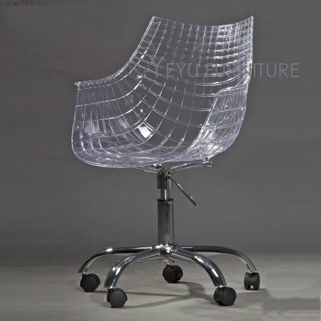 Swivel Office Chair With Wheels Cheap Plastic Lounge Chairs Transparent Modern Design Computer 5 Wheel Shell Gas Lift Clear