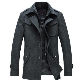 Winter Jacket Men Fashion Slim Fit Wool Jackets Outerwear Warm Coat Men Casual Jacket Overcoat Pea Coat Plus Size M-XXXL