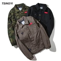 Tsingyi Autumn Black Camouflage Fleece Bomber Pilot Jacket Cotton Long Sleeve Bomber Jacket Men Blouson Homme
