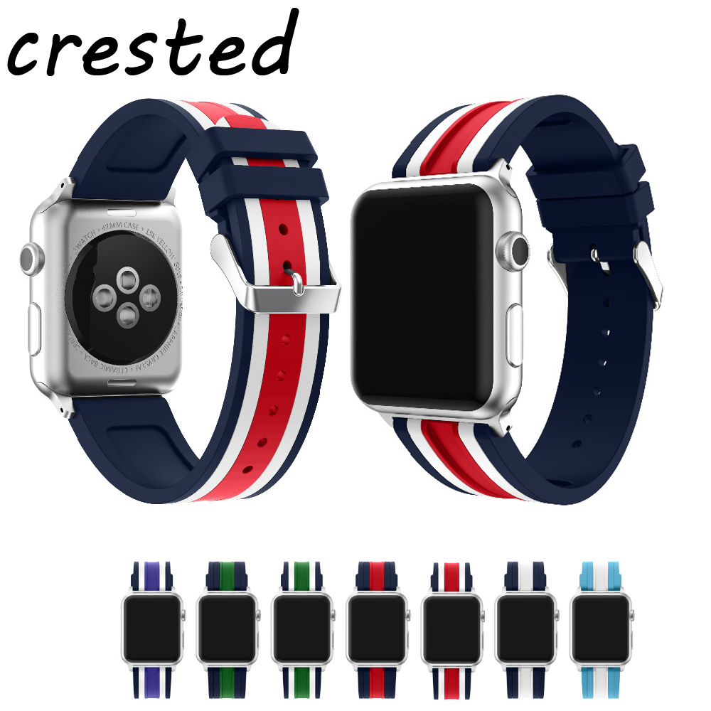 CRESTED sport silicone strap band for Apple watch 3/2/1 42mm 38mm rubber bracelet wrist belt watchband for Iwatch+ metal buckle crested sport strap for apple watch band 42mm 38mm silicone iwatch series 3 2 1 wrist band bracelet rubber watchband accessories