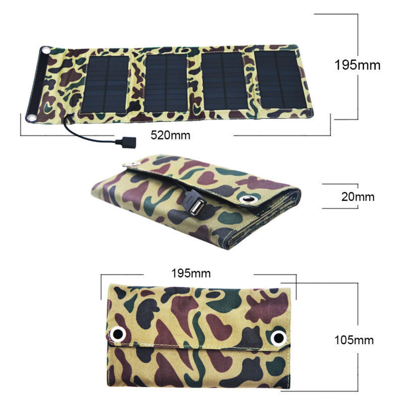 7W High Outdoor Folding Solar Charging Solar Panel With Four Folds In Camouflage Green Color Solar