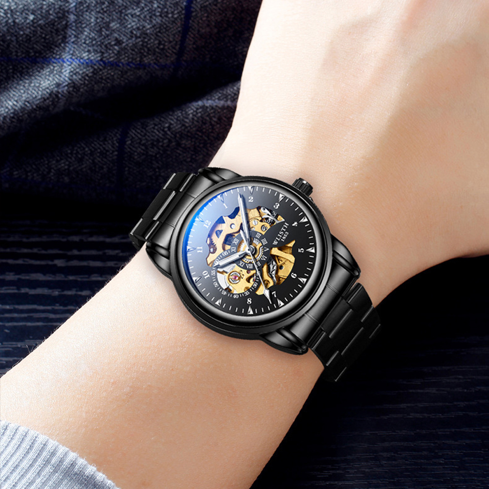 2019 Men Watches Top Brand Luxury WLISTH Mechanical Watches for Men Hour Erkek Kol Saati Luminous Black Skeleton Automatic Watch 6
